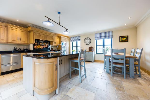 The open-plan kitchen/dining room.