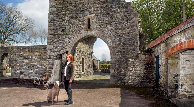 Caroline Sweeney with her dog Oscar, a Weimaraner; she also has a cat, Wilde. The 1,600-year-old ogham stone and the castle keep are in the background. Photo: Tony Gavin