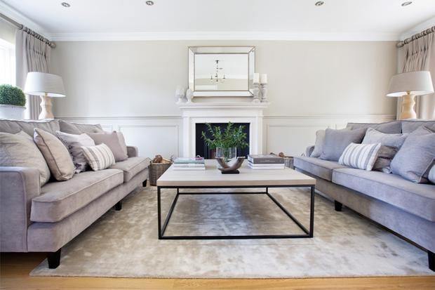 The living room has the luxurious style of a hotel drawing room but everything is practical.The velvet-like fabric on the sofas designed by Belinda is stain-repellent and all the paints and wallpapers are wipe down. The colour scheme is soft.