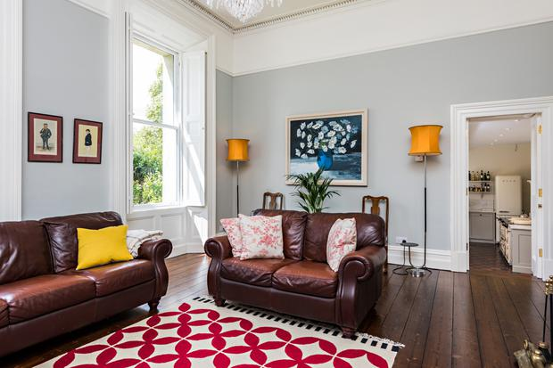 The family room with polished timber floors.
