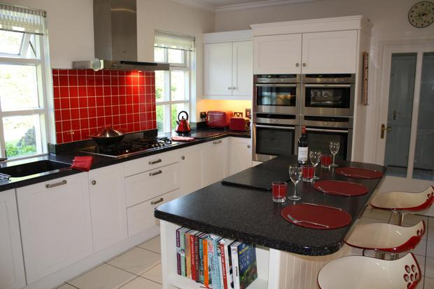 The handmade and painted kitchen.