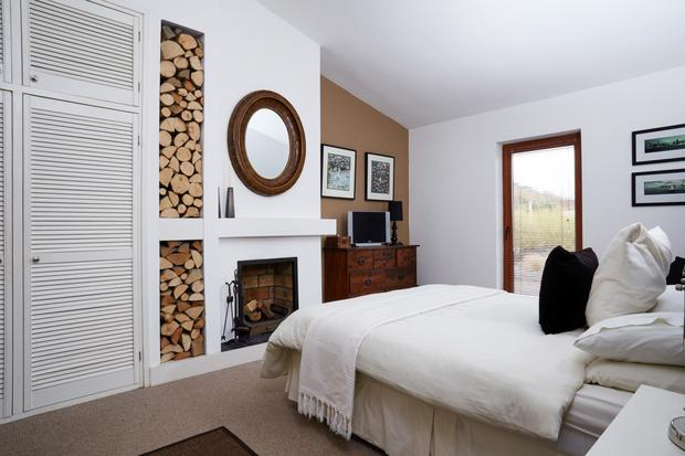 There's a fireplace in the master bedroom.