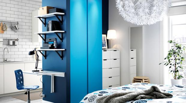 When co-living, your bedroom can also be the space where you study, as laid out in this interior from Ikea