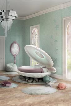 The Little Mermaid Bed is made in the shape of a giant clam