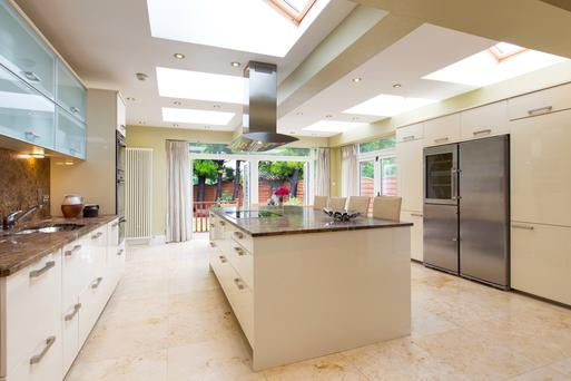The kitchen with island unit