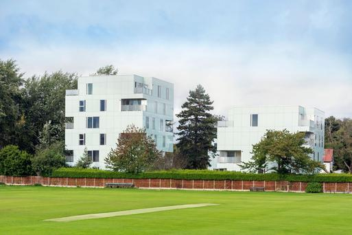 The Jenga-shaped apartments overlook the cricket club