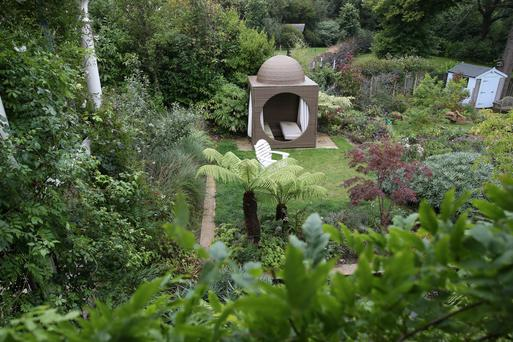A view from above of Diarmuid Gavin's garden, with its many focal points. Photo: Fran Veale