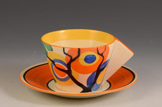 Ceramics like this teacup from Clarice Cliff are valuable once they are in good condition