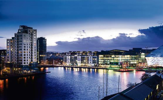The Millennium Tower at dusk which overlooks Charlotte Quay and the Bord Gais Energy Theatre