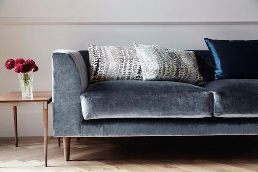 Differing finishes in the velvet family will avoid a look that has the potential to get boring or too matchy-matchy. James Hare fabrics start from €195; kevinkellyinteriors.ie