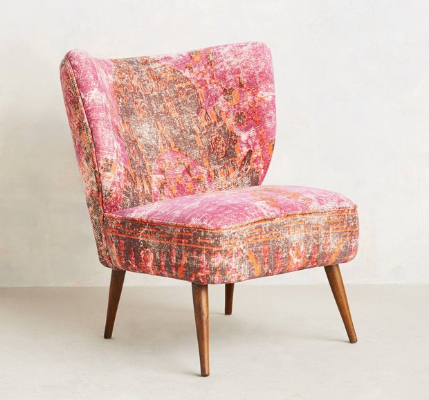 Moresque chair, €504. With the range of colours and finishes out there, velvet no longer has to mean formal, stuffy interiors; anthropologie.eu