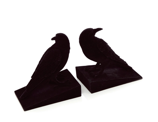 Abigail Ahern black velvet crow bookends, €42. Introduce fun accessories that can be switched up easily and regularly; debenhams.ie