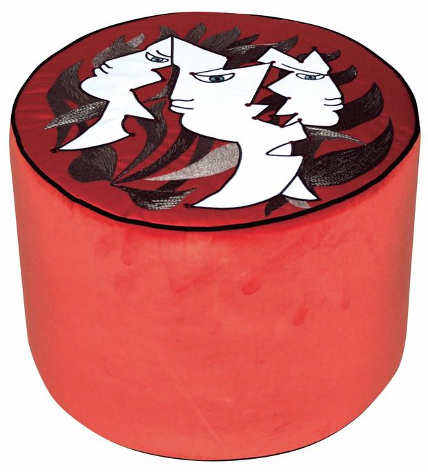 Jean Cocteau ottoman, €490. Statement, designer pieces in bright colours will always liven up a room; roche-bobois.com