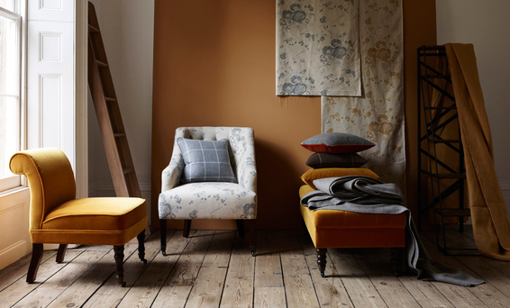 Neptune's made to order fabrics in Mustard and Smoke tones. For Irish stockists see neptune.com