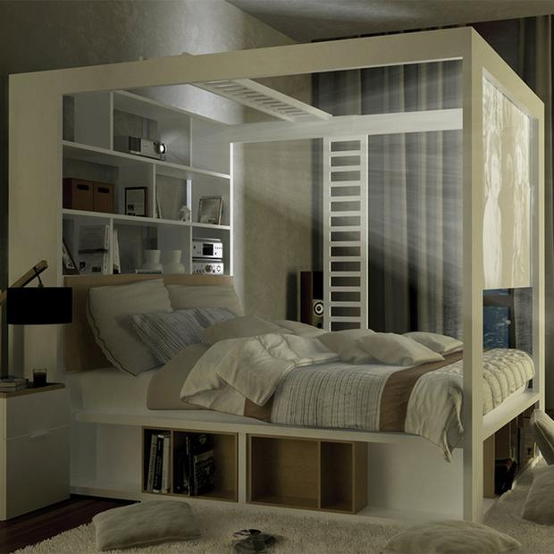 Project a movie from the Cuckooland four poster bed