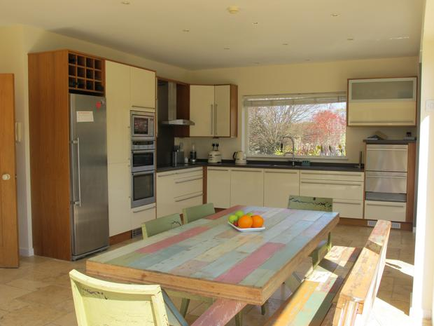 The kitchen at Holmhill has been totally gutted and given a modern makeover