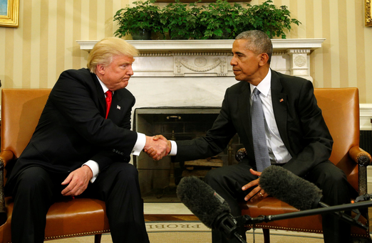 NEW HOME: US President Barack Obama meets with president-elect Donald Trump in the Oval Office of the White House in Washington.