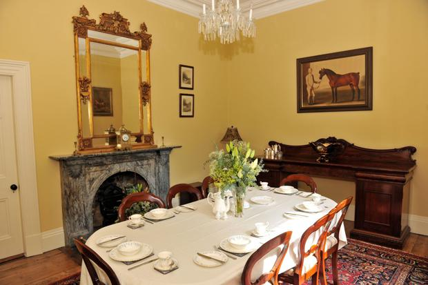 The dining room also has a Kilkenny marble fireplace