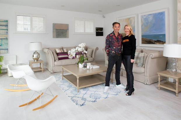 Clifden and Orna in their more formal living room, where paintings by lots of Waterford artists including Mick Mulcahy and Mary Tritschler are displayed. Clifden paints, and some of his work also hangs in the house