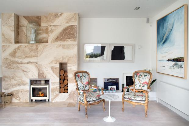 The period armchairs are from RJ Keighery in Waterford; Orna felt the house needed some contrast. Like the rest of the house, art abounds on the walls. 'We're always buying art, we buy lots from The Cross Gallery,' Clifden says