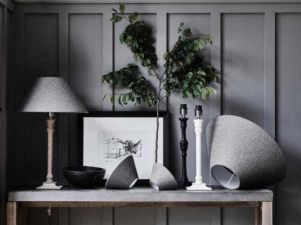 Neptune's Fairfax lamp in Seasoned Oak with Oliver shade in Angus Flint from €197/£151, Marylebone print €115/£88, Fitzroy lamp stand in Aged Black from €105/£82, Fairfax lamp stand in Aged White from €105/£82. See Neptune.com for Irish stockists