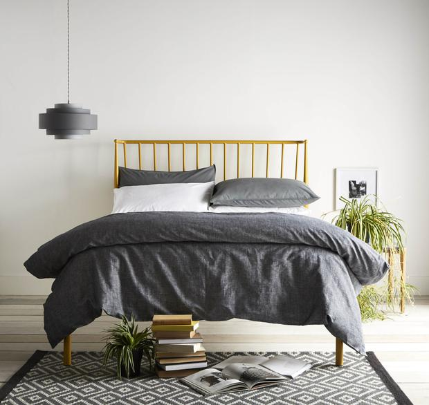 Next Yellow Irvine metal bed from €252 Cotton plain dye bed sets from €19.50 Grey diamond runner €53