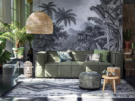 NATURE TRAIL: This is not a trend for the minimalist – go all out with floral wallpapers, set off with natural accessories, such as the woven wicker lamp by cuckooland.com, and large containers of leafy foliage