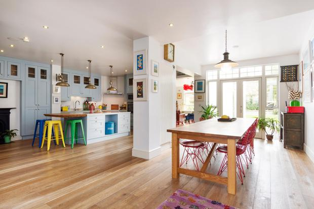 The open-plan kitchen/breakfast room with bespoke units