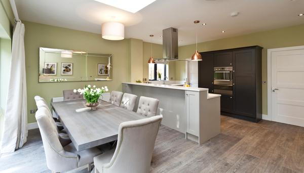 The open-plan kitchen and dining area of the showhouse at Silverton