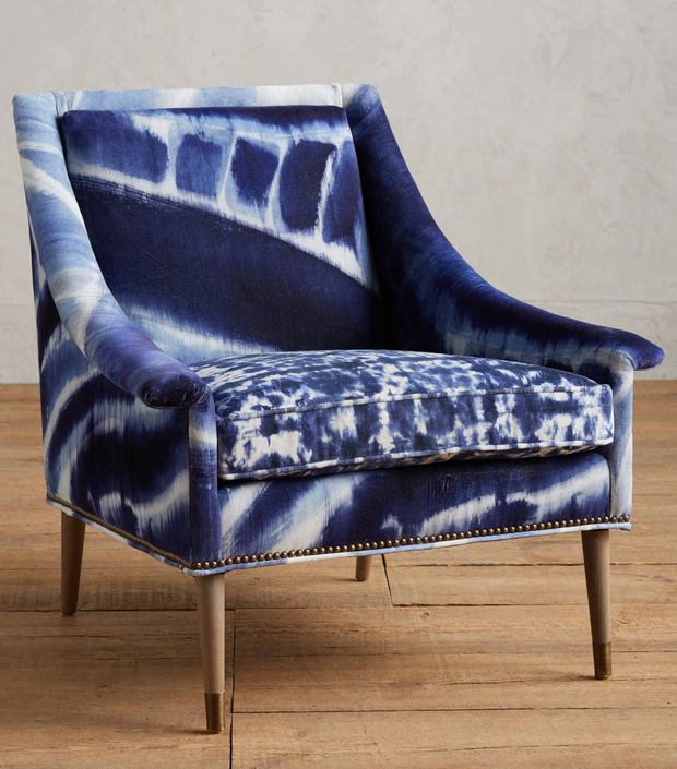 Shibori-printed armchair, €1,340: Different accompanying patterns work especially well if you want to be unique but don't have the time to DIY, such as this Tillie armchair; anthropologie.com