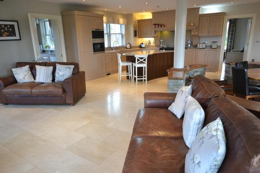 The open-plan kitchen/living room/dining area