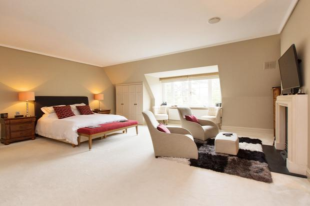 The master bedroom has enough space to accommodate a suite of furniture