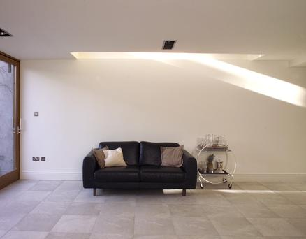 Rooflights by the wall bounce light back into a room