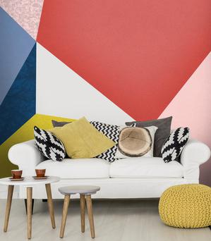 Geometric mural from wallsauce.com