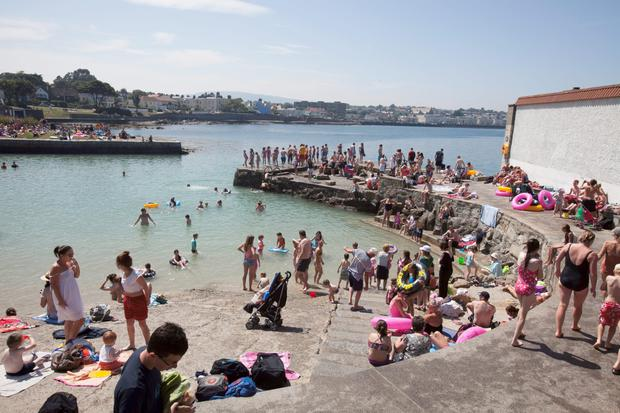 Summer swimmers at the cove in Sandycove, which also has the popular '40 foot' deep swimming area