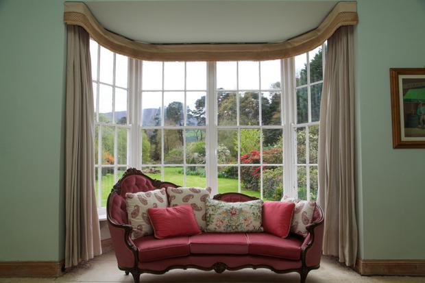 A bay window looking out on to the grounds from the drawing room