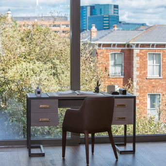 Foor-to-ceiling windows make the most of the view onto an acre of landscaped grounds at Lansdowne Place