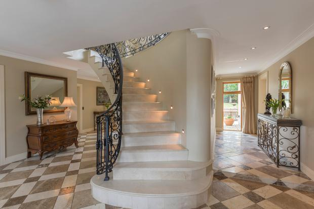 The dramatic sweeping staircase