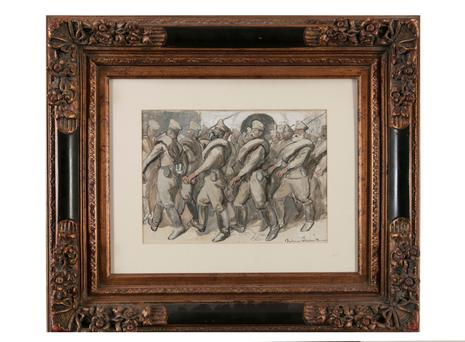 Boardman Robinson's 'Bolsheviks Marching (Russia 1917)' is estimated to sell between €800 and €1,200 this Sunday