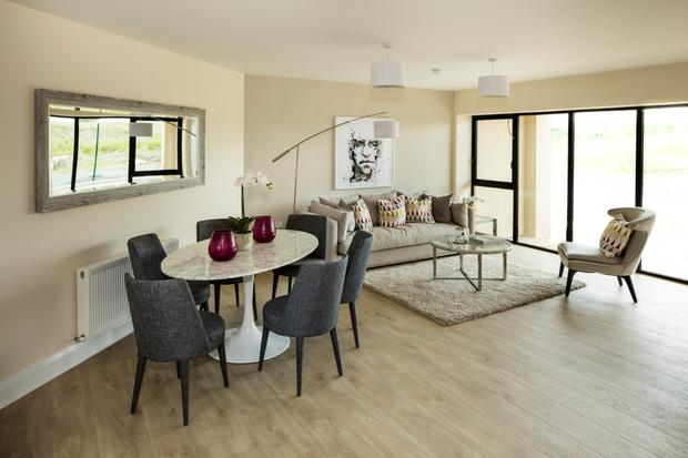 The living area at The Paddocks Drive in Adamstown.