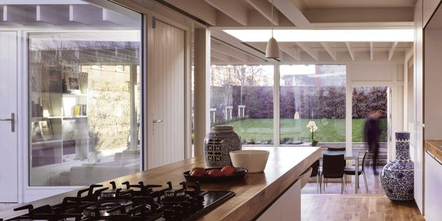 Light and space flood the extension via a central courtyard