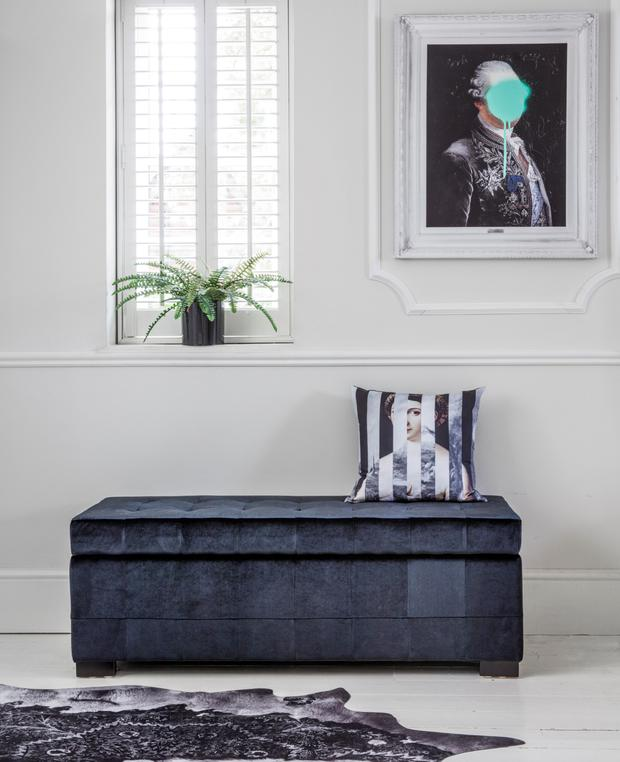 Hedonist black velvet ottoman from the French Bedroom Company;
