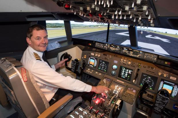 Mark Lowen who created a flight simulator in his garage in Bedfordshire