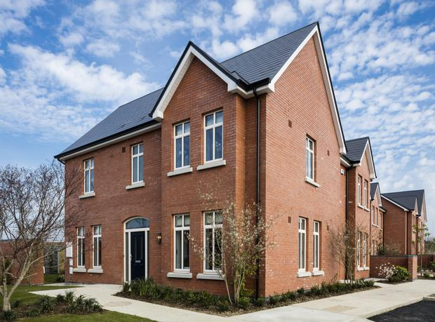 The exteriors of Citywest Village homes feature granite windowsills, Avon red brick, and slate roofs.