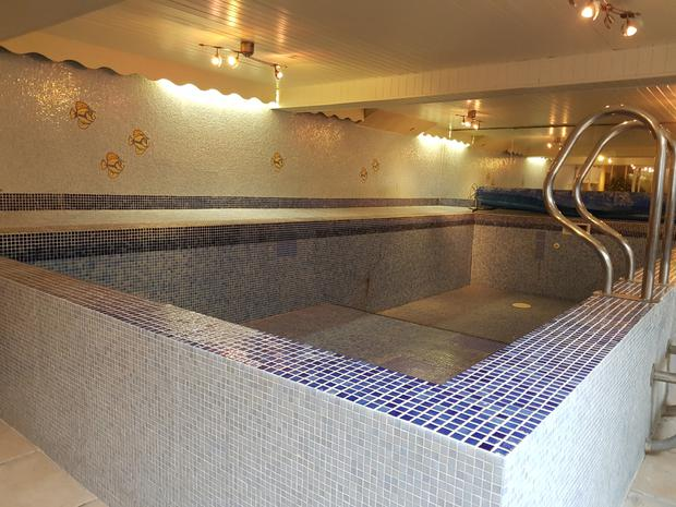 The 30-foot swimming pool in the basement which also has a hot tub, sauna and games room