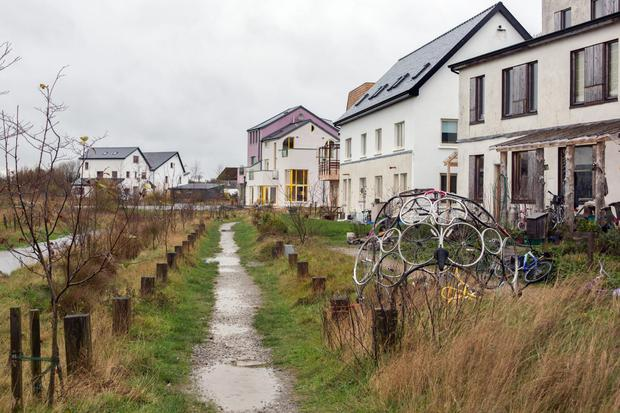 A bike sculpture at the eco-village