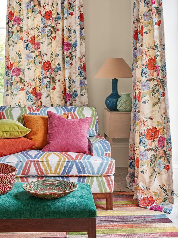 Bright fabrics from Colefax and Fowler at Paul and Co