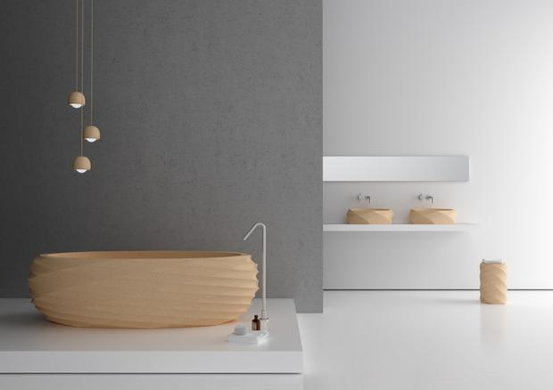 As seen with Granorte's NuSpa collection, cork's waterproof quality makes it suitable for sinks and baths; granorte.co.uk