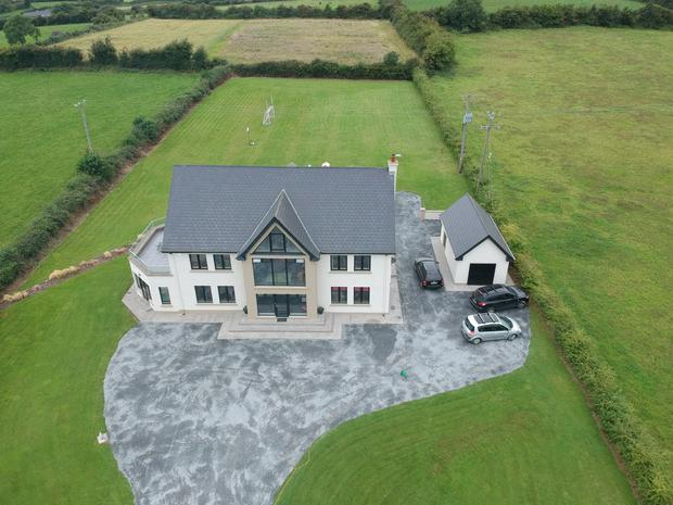 An aerial view of the house