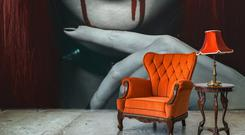 'In the darkness' bloody claret wall mural from Pixers